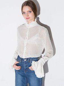 57be54e804 Blusa de poliéster blanca con escote Ilusión con manga larga color liso  estilo dulce