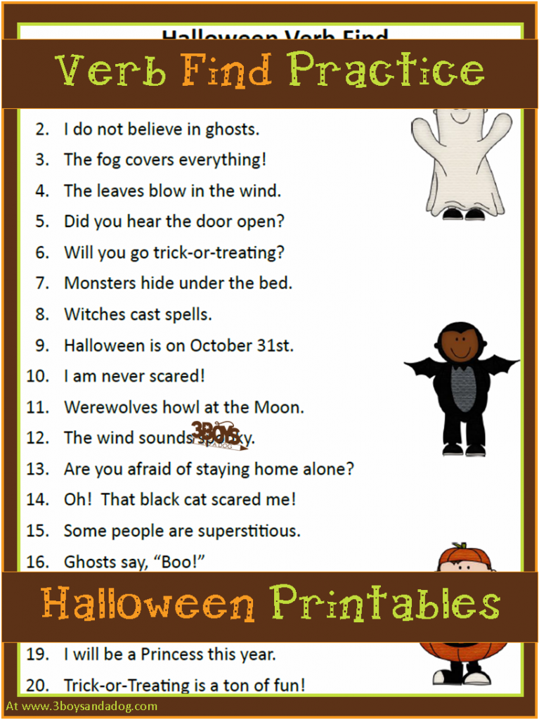 Halloween Printables Verbs Parts Of Speech Halloween Activities For Kids Parts Of Speech Halloween Printables