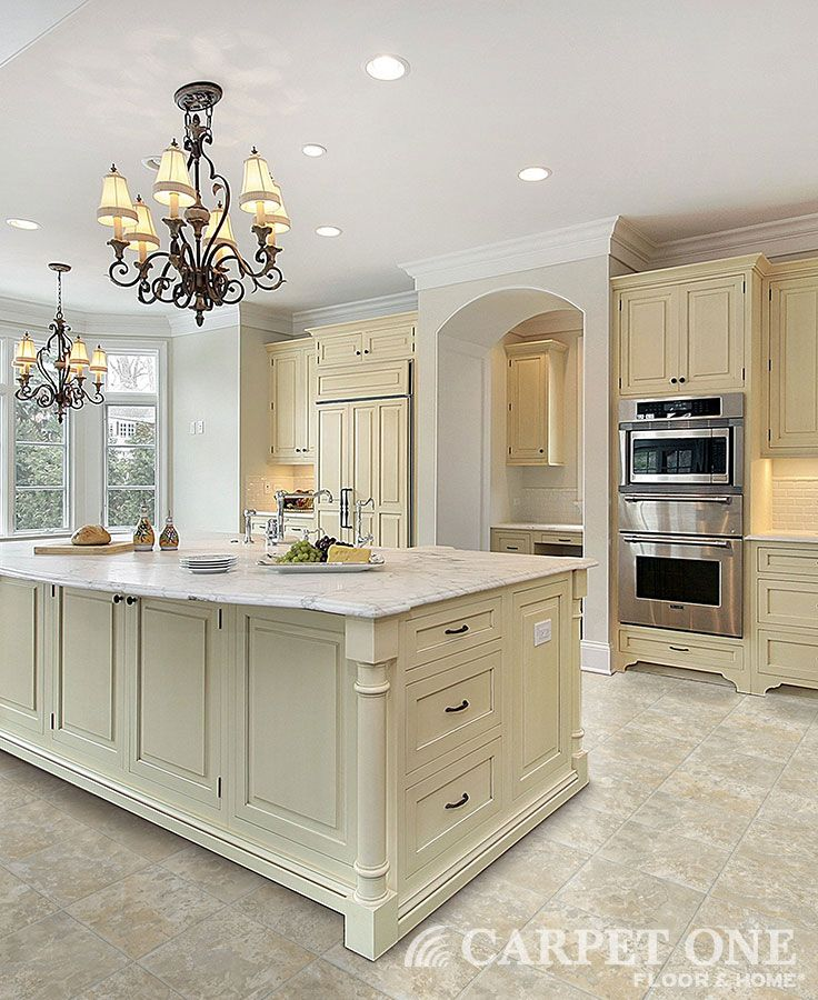 Why Vinyl Flooring Work So Well Carpet One Floor Home Antique White Kitchen Antique White Kitchen Cabinets Traditional Kitchen Cabinets