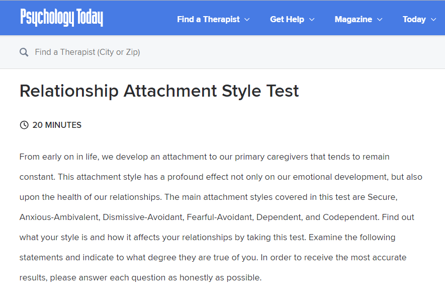 Relationship attachment style test  Attachment Style Test