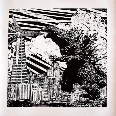 original godzilla linocut print by eric rewitzer 3 fish studios - Godzilla Pictures To Print