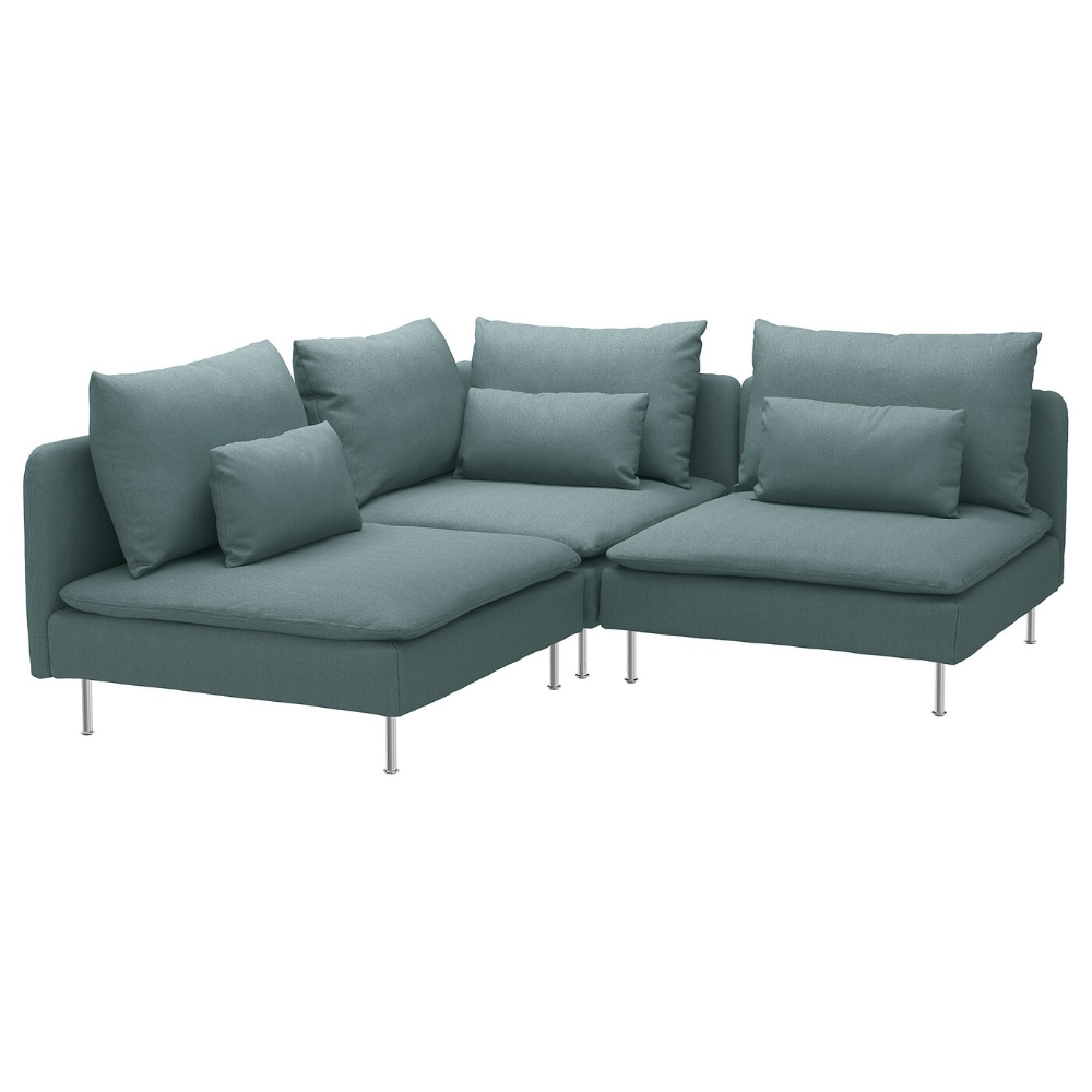 Cuscino Alla Francese Ikea sÖderhamn divano angolare a 3 posti - finnsta turchese