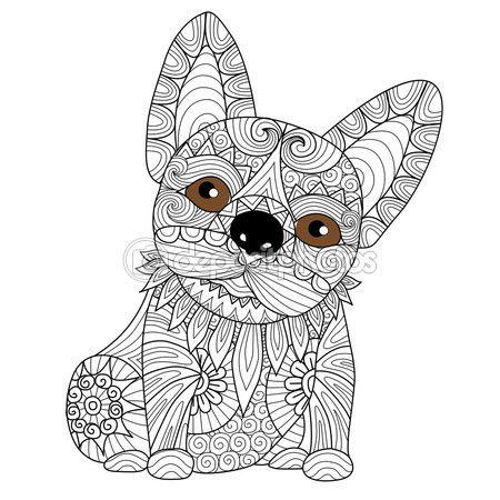 Mano dibujada bulldog cachorro zentangle estilo para colorear libro ...