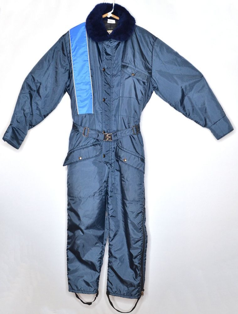 Vintage Walls Blizzard Pruf Blue Insulated Snowsuit Coveralls Size