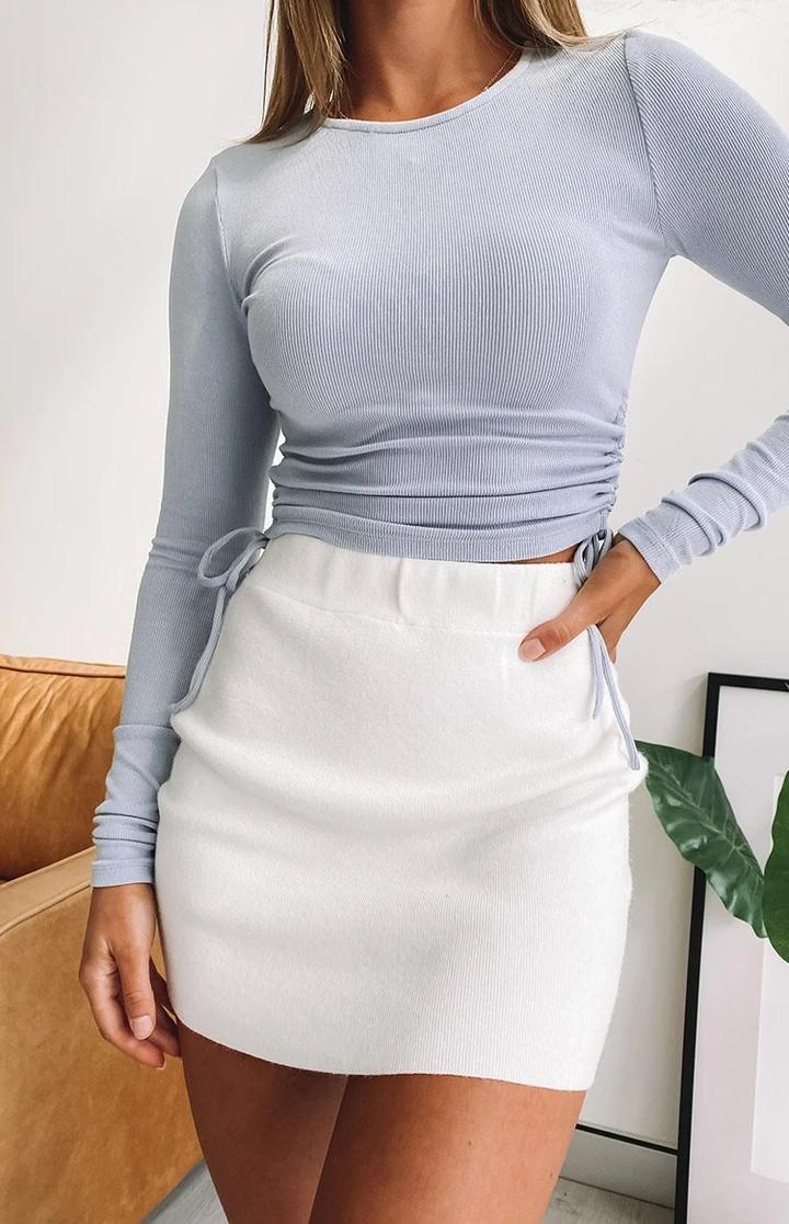 Tell Me Knit Skirt White