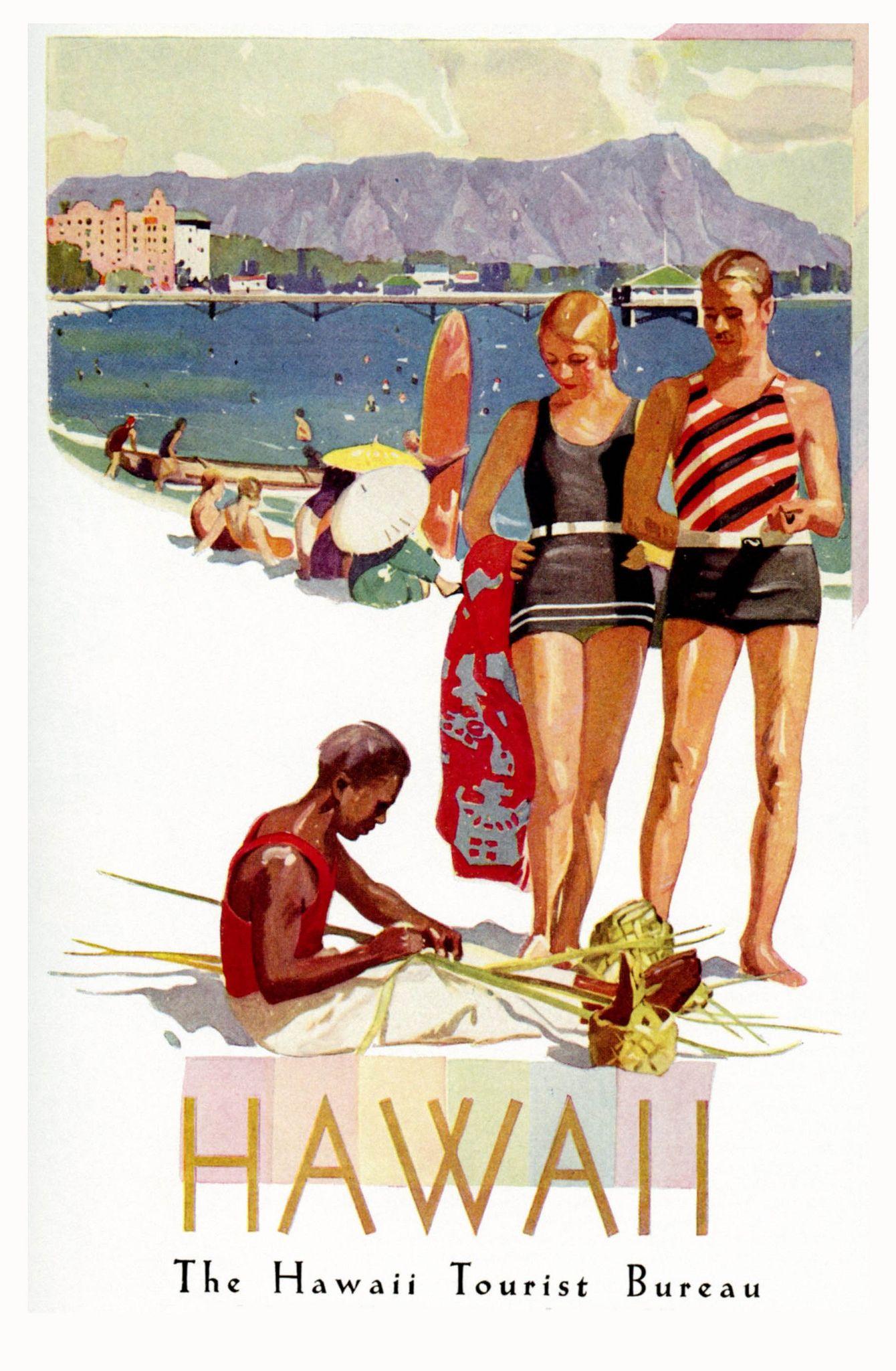 Vintage Illustrated Travel Poster PRINT Hawaii Aloha surfing