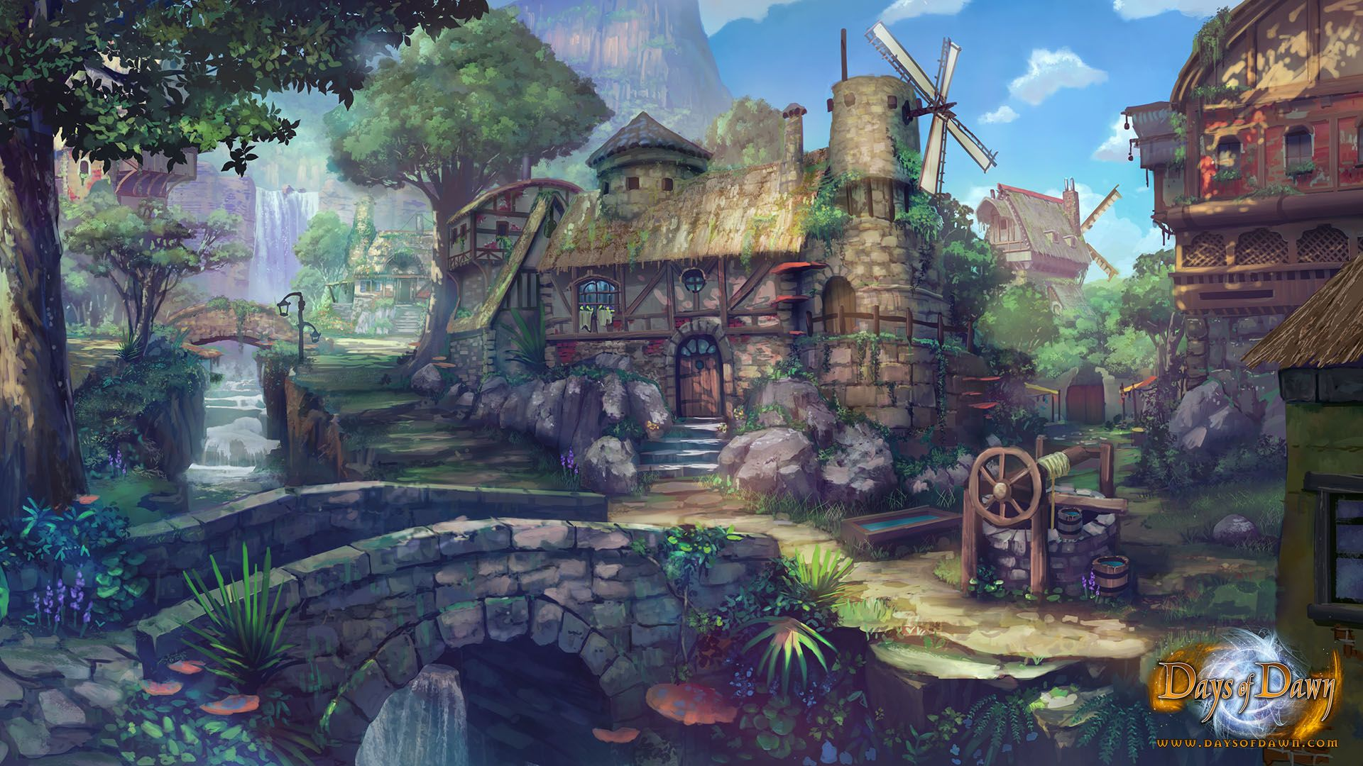 Town concept art for days of dawn image landscape - Art village wallpaper ...