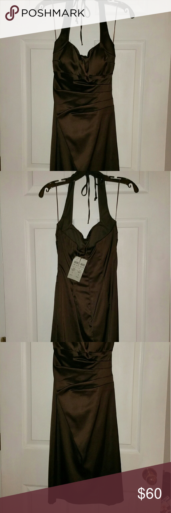 Le Chateau Brown Satin Halter Dress Sexy lined dress with bra cups Le Chateau Dresses Backless