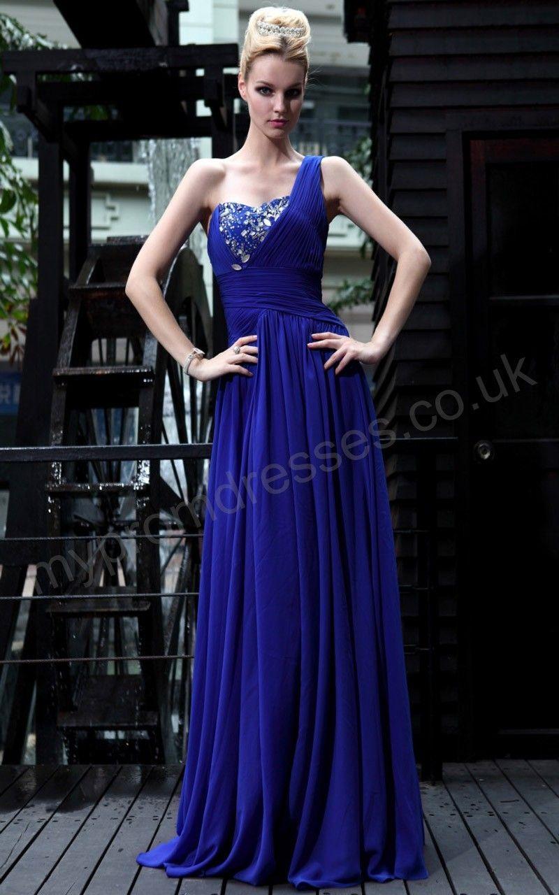 Paris Floor Length One-shoulder Royal blue Satin Empire Waist Evening Dress p-sl581   http://bit.ly/GFPX5P