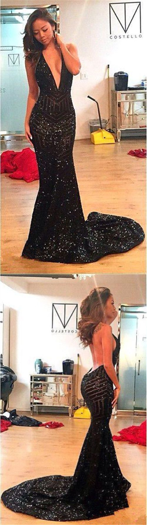 Black sequined prom dressessparkle prom dressessexy prom dresses