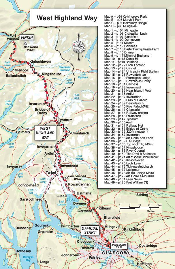 West Highland Way Map Trailblazer Guide Books – West Highland Way: Milngavie to Fort  West Highland Way Map