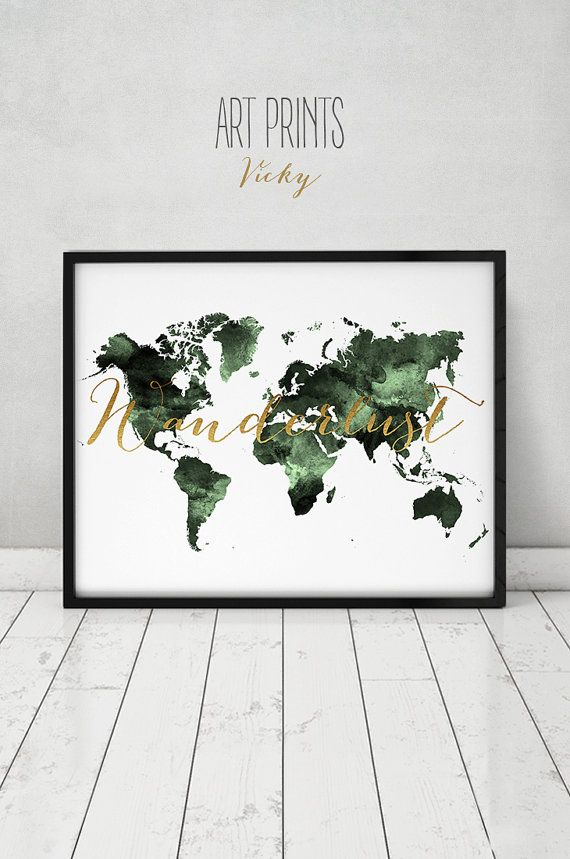 Travel map wanderlust world map watercolor print world map poster travel map wanderlust world map watercolor print world map poster green tones with faux gold text wedding guest book artprintsvicky gumiabroncs Image collections
