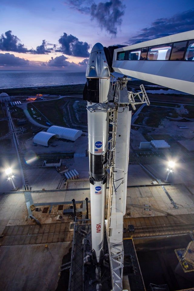 SpaceX Demo-2 Falcon 9 and Crew Dragon stand ready at historic Kennedy Space Center Pad 39A. - nasa
