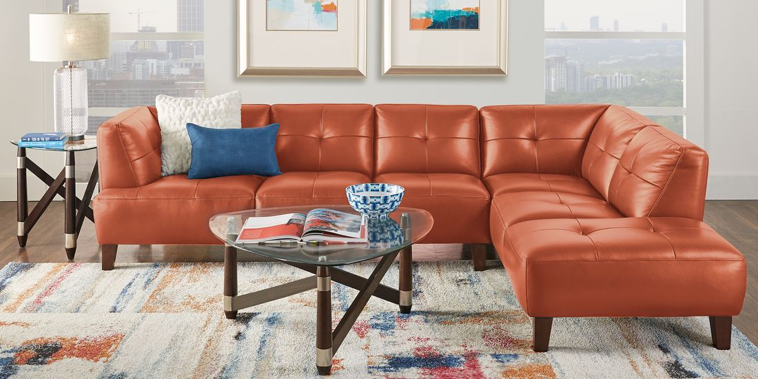 Villa Capri Orange 2 Pc Leather Sectional Living Room Sets