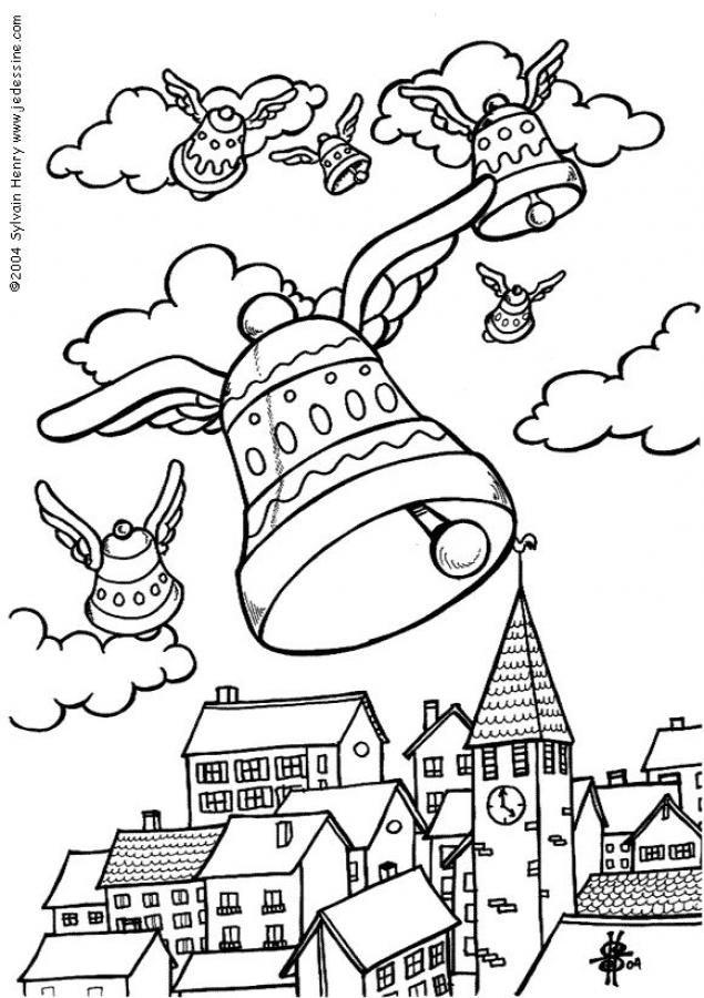 Coloriage les cloches de p ques paques pinterest - Dessin de paques facile ...