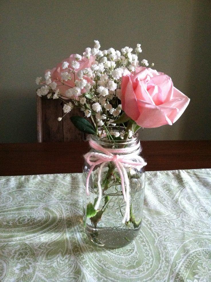 Image result for baby's breath mason jar pink rose ...
