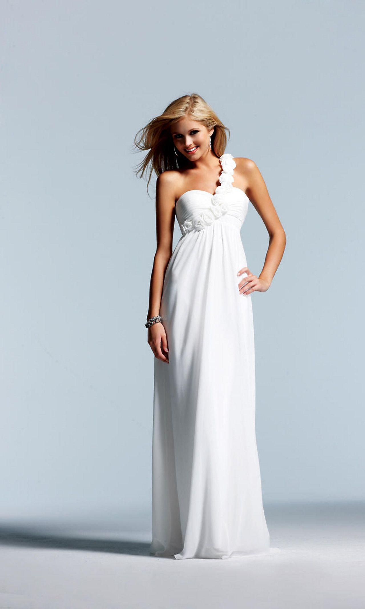 One shoulder floor length chiffon dress fa loveuc pinterest