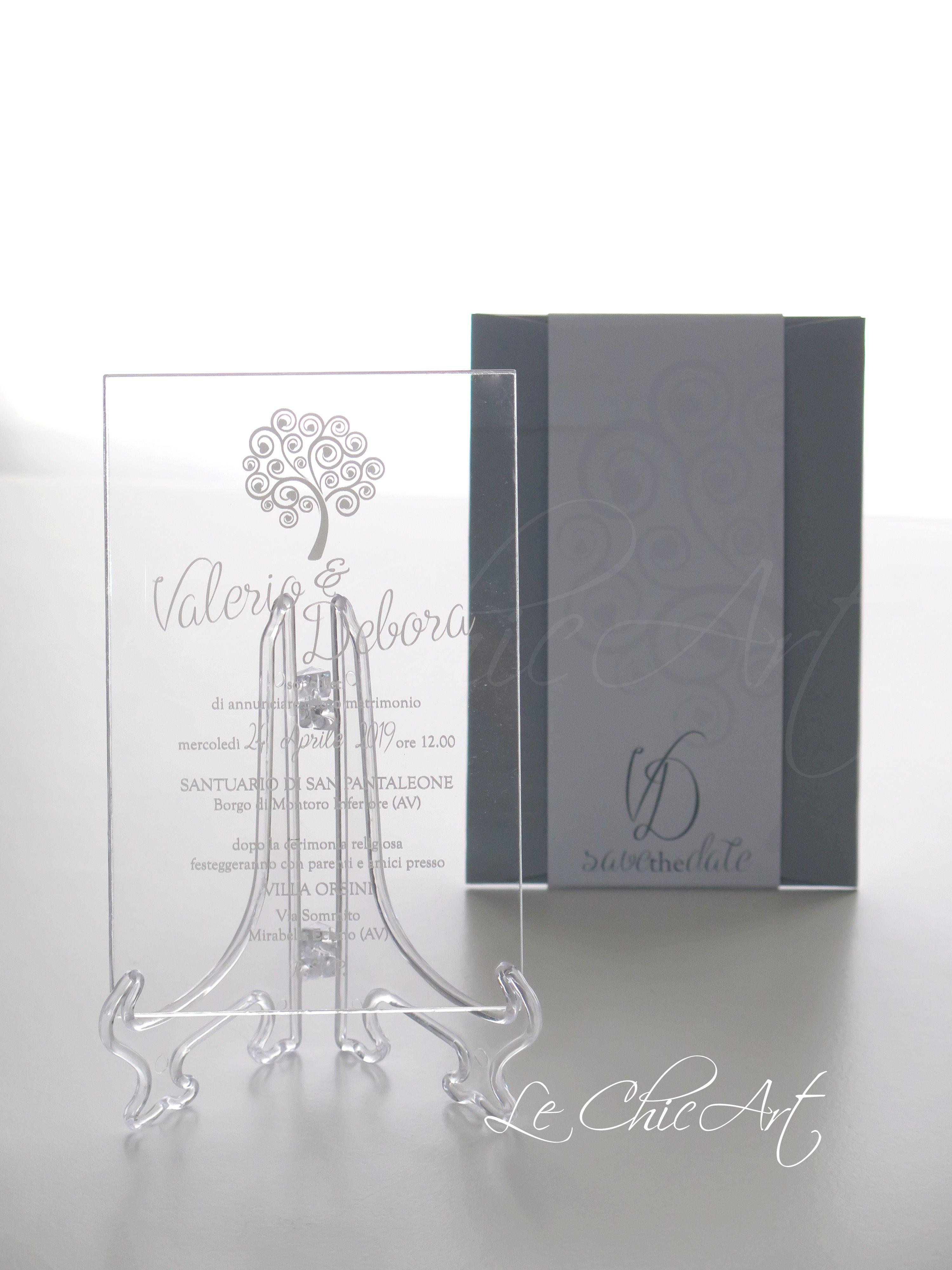 Partecipazioni Matrimonio Azzurro Polvere : Partecipazione matrimonio in plexiglass tema albero della vita