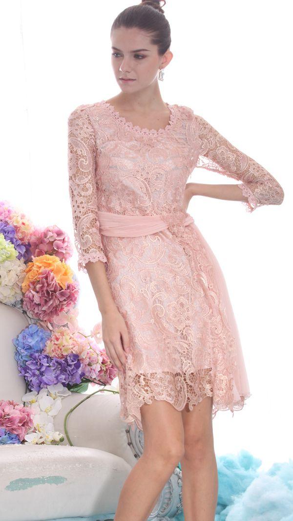 Pink Long Sleeve Embroidery Belt Lace Dress | MODA.!!! | Pinterest ...