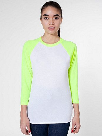 American Apparel Unisex Neon Poly-Cotton 3/4 Sleeve Raglan Shirt