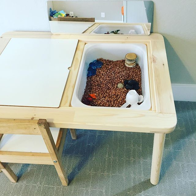 flisat ikea sensory bin table kids corner pinterest montessori playrooms and plays. Black Bedroom Furniture Sets. Home Design Ideas