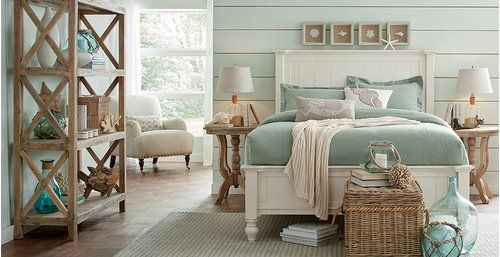 Coastal Bedroom Design like this bed and the sea foam green