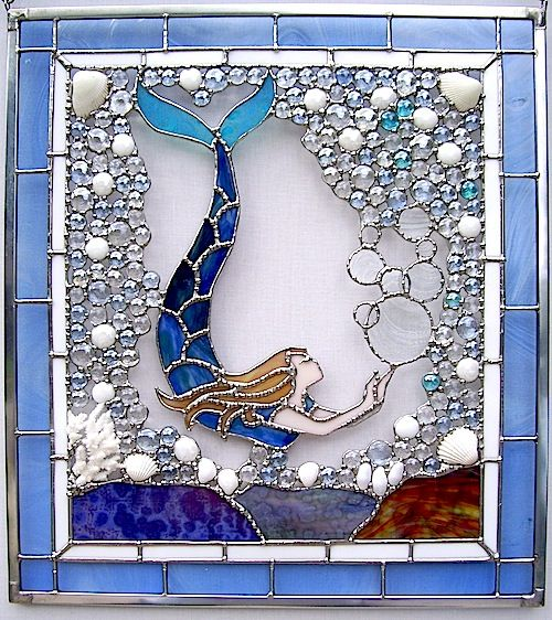 "free stained glass mermaid pattern | We are ""Mermaids,"" so we've grouped them here for your Sea Siren ..."