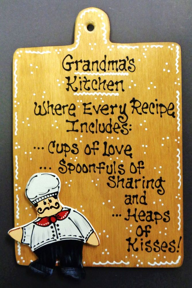 FAT CHEF Sign GRANDMA\'S KITCHEN Plaque Wall Art Hanger Hanging ...
