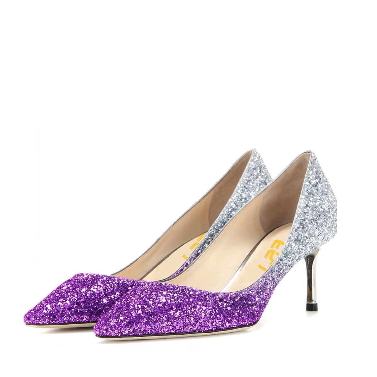 Women's Purple and Silver Gradient Color Bridal Heels