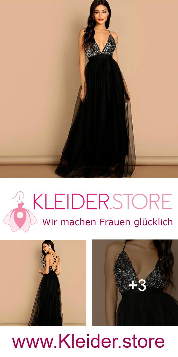 2ad537ecf6456 Festliches Peilletten Spitzen Kleid mit Spaghettiträger   Rückenfrei in  Schwarz. Dir gefällt das Kleid