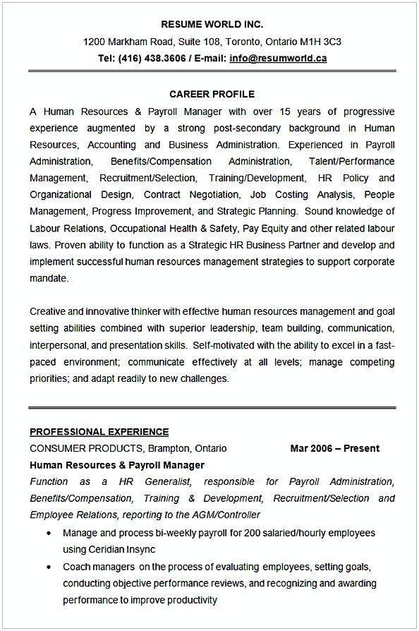 Human Resources Resume Sample , HR Manager Resume Sample , This HR