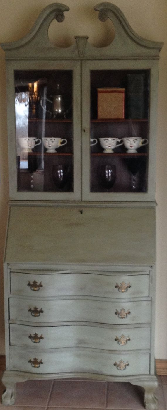 Vintage Antique Mahogany Secretary Desk Hutch French Country Hand Painted With Annie Sloan