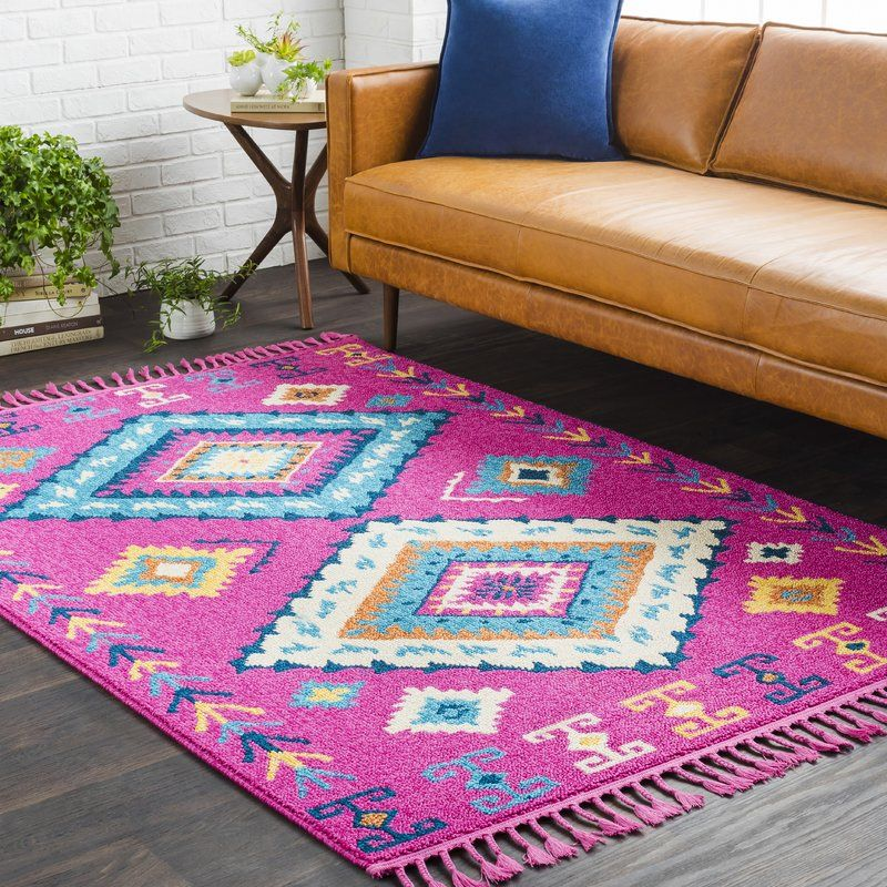 Kaliska Boho Moroccan Tassel Blue/Pink Area Rug | Moroccan and Bungalow