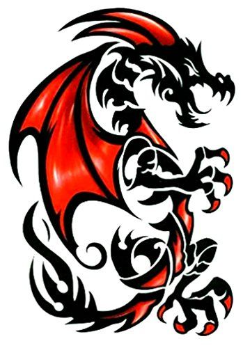 Tribal Red Black Draco Dragon Temporary Body Art Tattoos Large 6 X