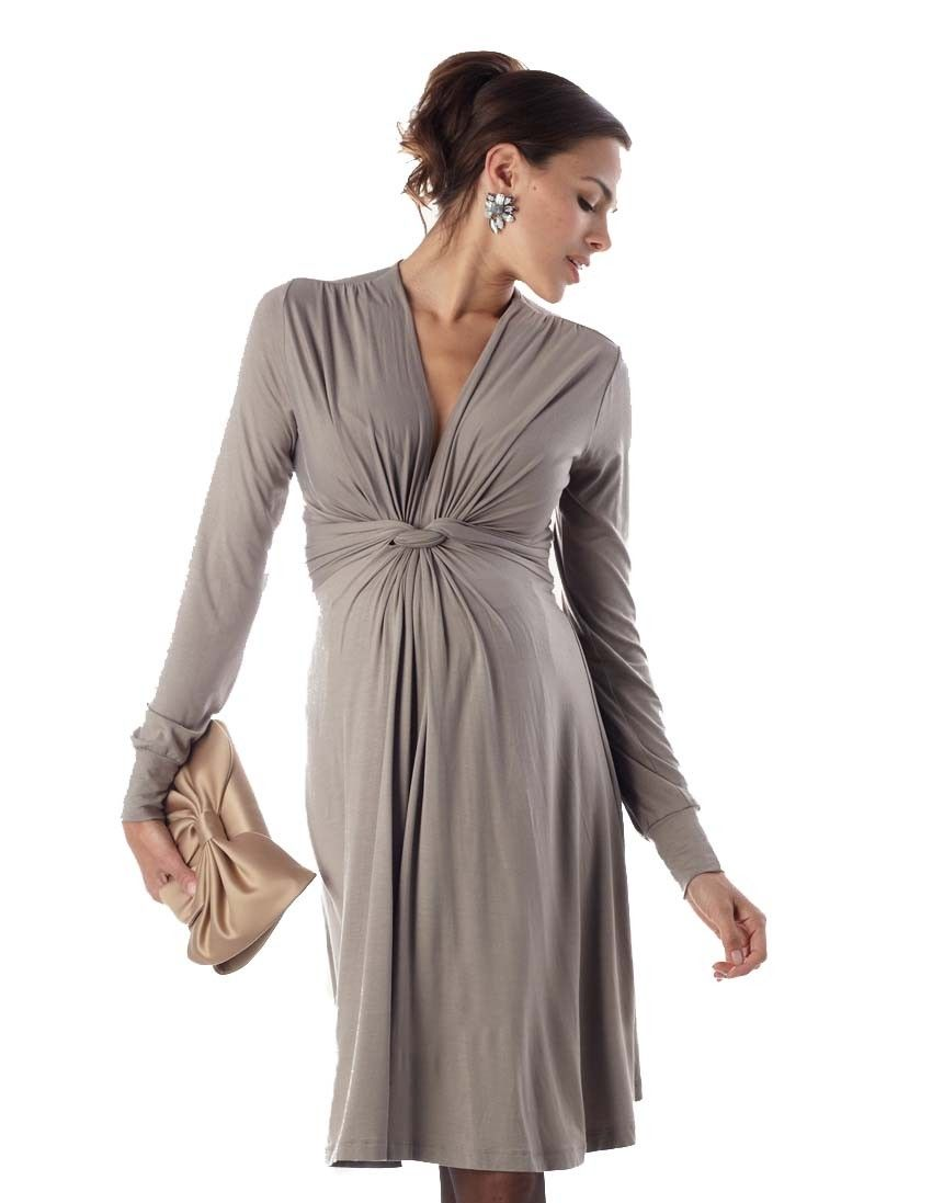 Taupe knot front maternity dress seraphine could add colorful