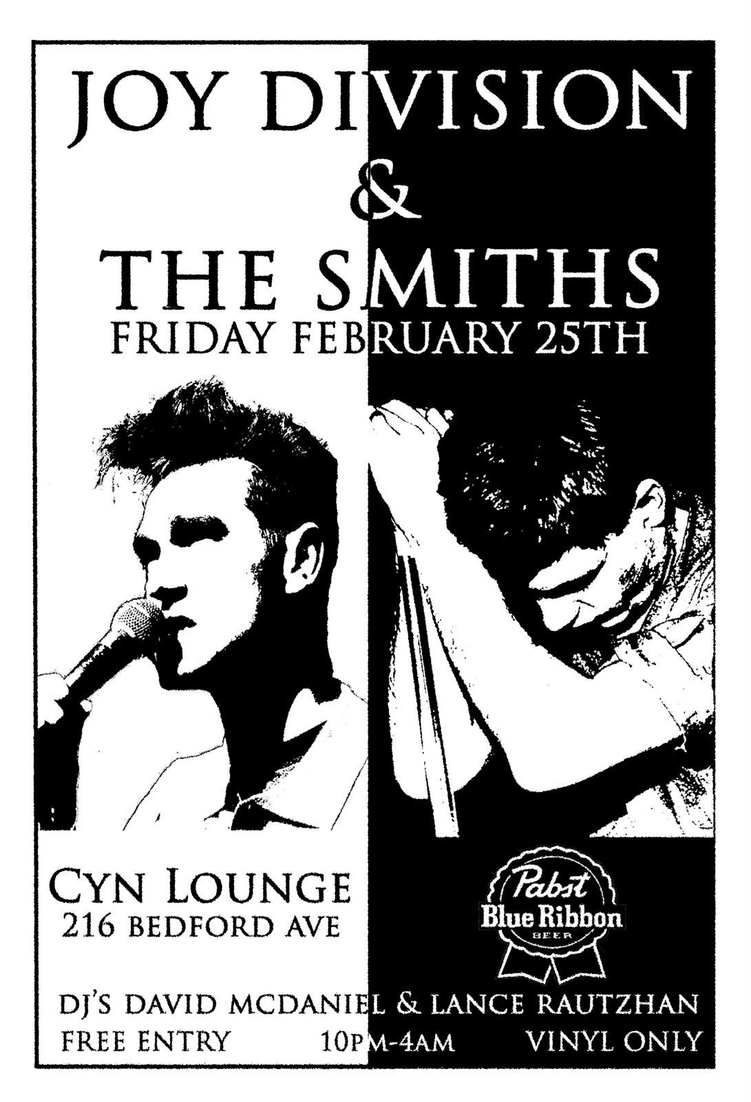 Breakfast Time Joy Division The Smiths Nite Cyn Lounge Free Pbr Punk Poster Joy Division Music Poster