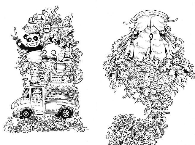 Doodle Invasion by Zifflin and Kerby Rosanes | 16 Colouring Books ...