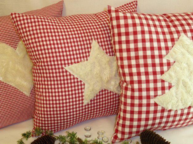Deko und Accessoires für Weihnachten: Kissenhülle Weihnachten rot-weiß karo T... -
