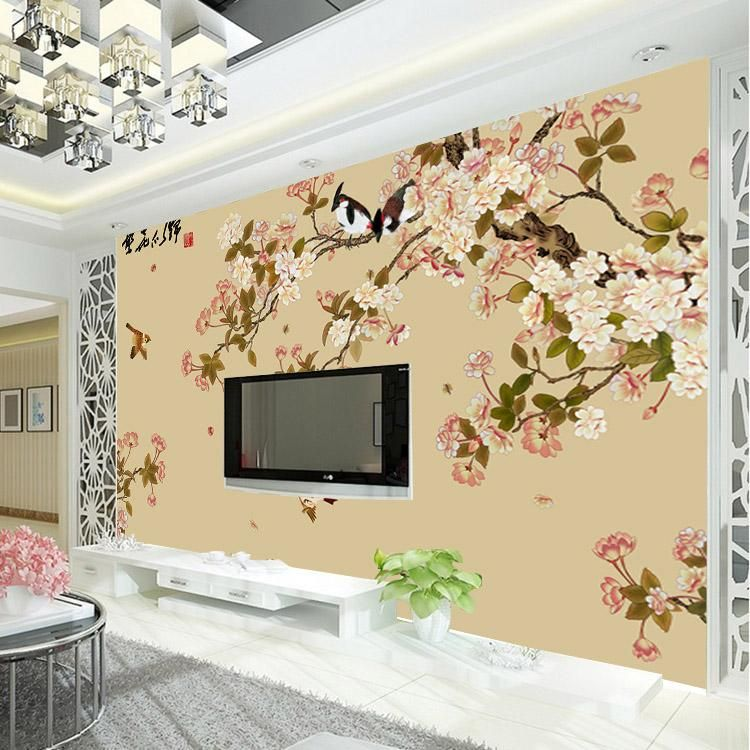 Elegant bird and flower wallpaper custom 3d wall mural for 3d mural wallpaper for bedroom