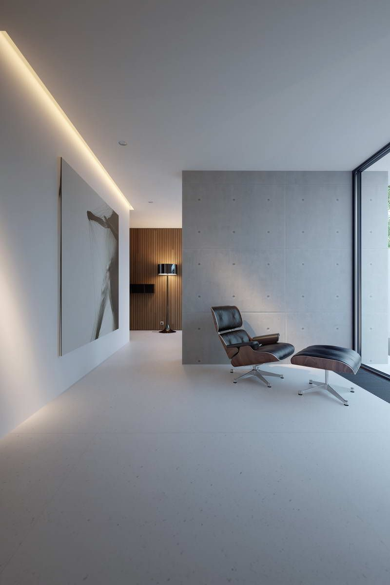 Contemporary decor minimal interior with eames ottomane for Architecture ottomane