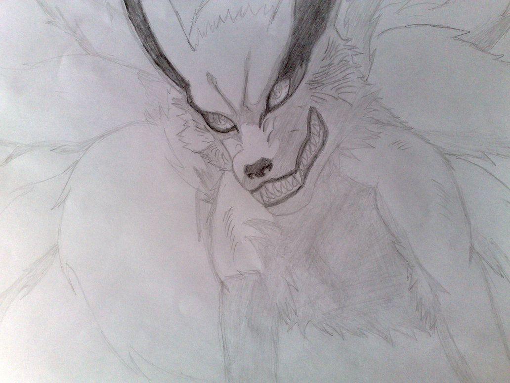 kurama kyuubi   Naruto Kyuubi Kurama Drawing Sketch by