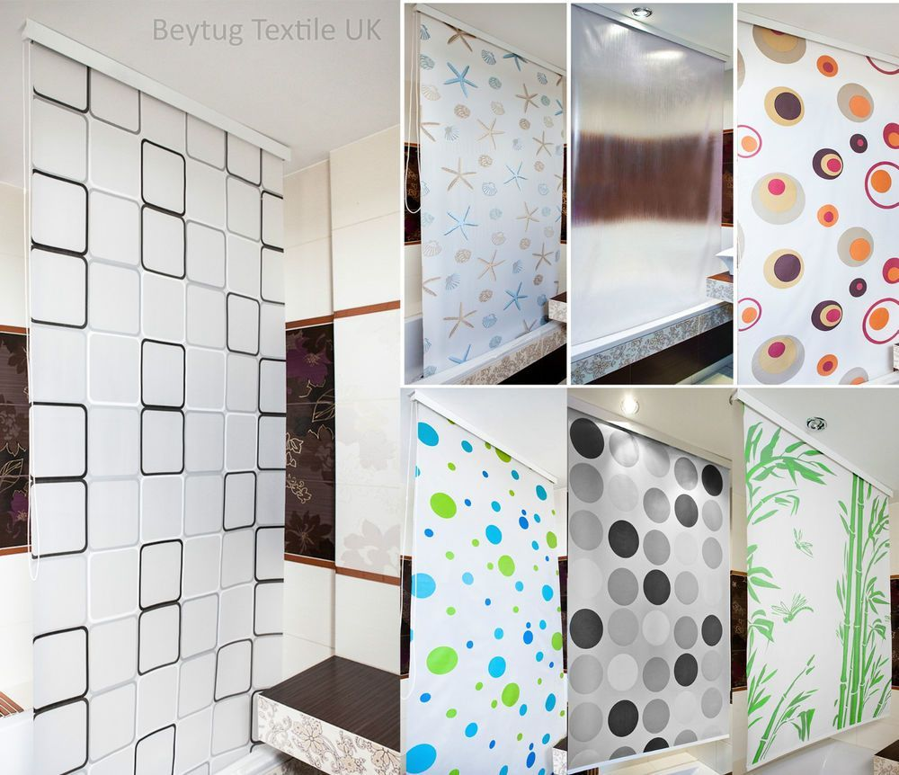 Modern bathroom shower curtain roller blinds extra long available