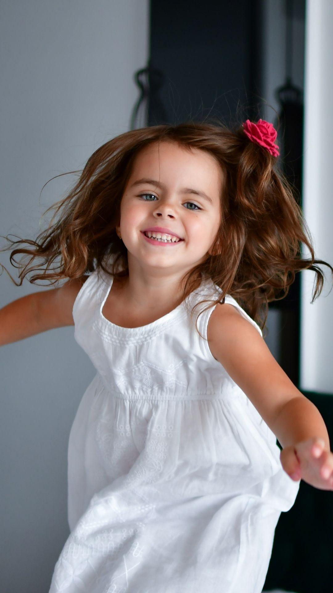 Cute Kid Girl Jump Mood 1080x1920 Wallpaper Free Hd Wallpapers Flower Girl Dresses Girl Wallpaper