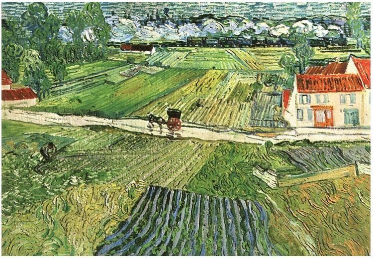 Vincent Van Gogh Paisaje Con Carruajes Y Tren En Fondo Painting Pinturas De Van Gogh Van Gogh Arte Pintor Van Gogh