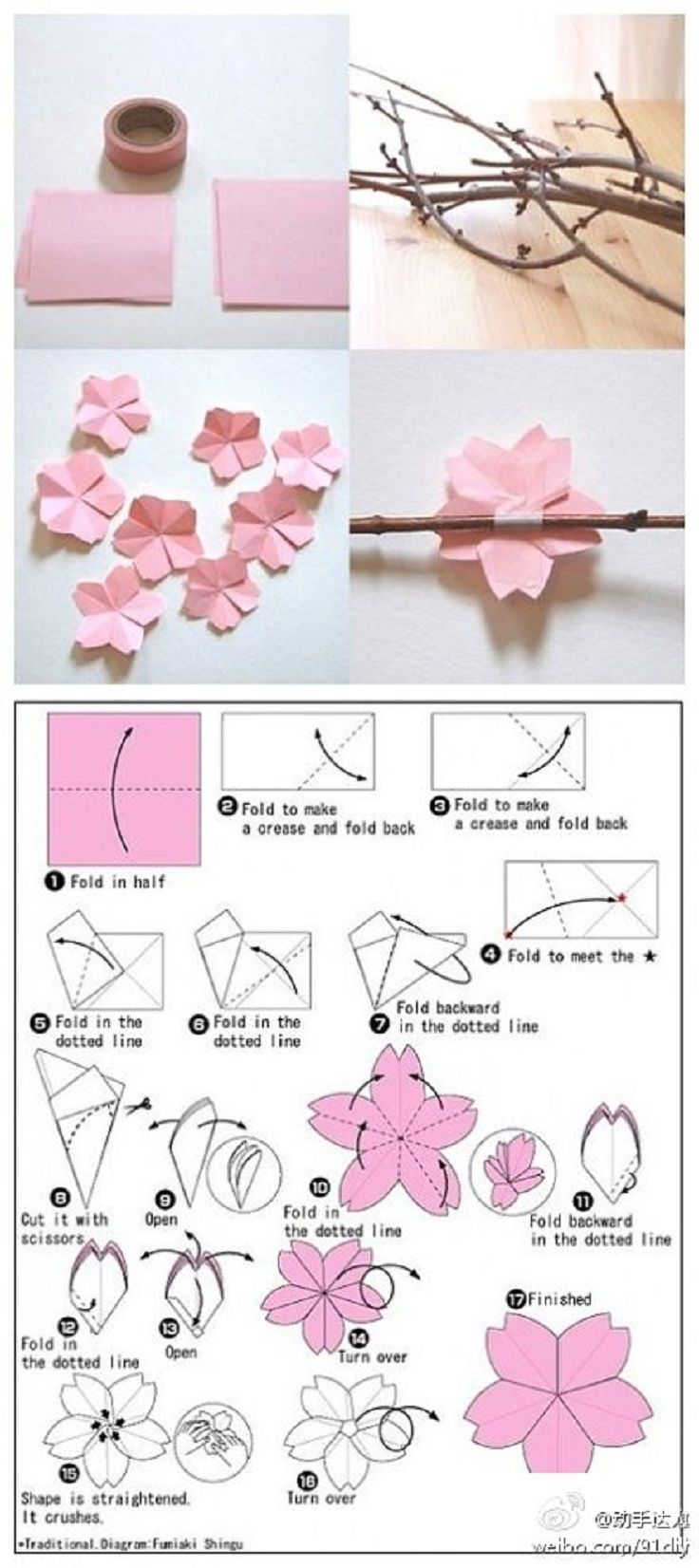 Diy Origami Cherry Blossoms Cherry Blossom Theme Paper Crafts Paper Flowers