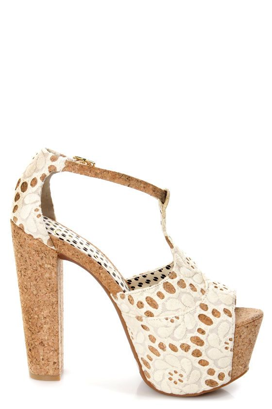 802652a3d6d Jessica Simpson Dany 4 Cream Macrame Fabric Lace Platform Heels at  LuLus.com! --  I AM SO IM LOVE... I want them