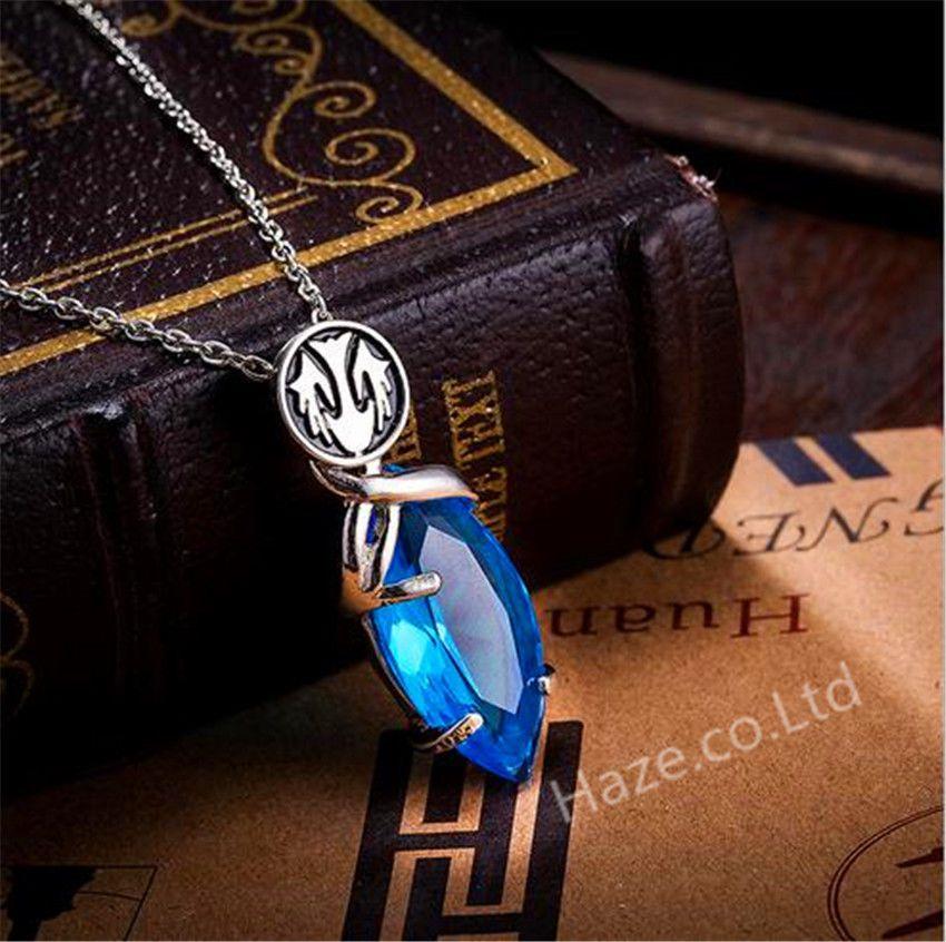 Final Fantasy Yuna Cosplay Necklace Blue Crystal Drop Pendants