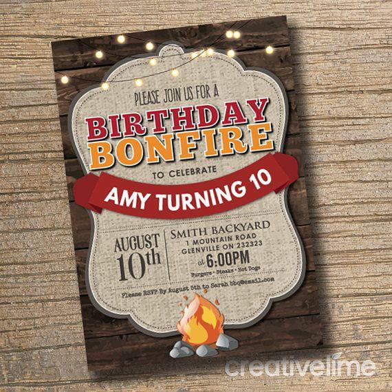 bonfire bbq party invitation printable birthday invitation - Bonfire Party Invitations