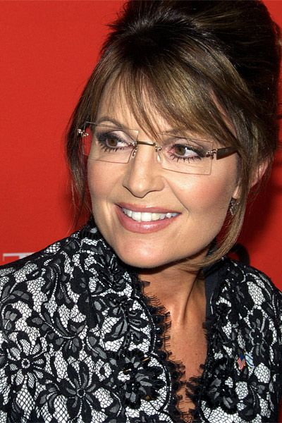 8cb92c369f  Sarah Palin  Luxe Rimless Rectangular Clear Glasses - Nickel - 8471-3.