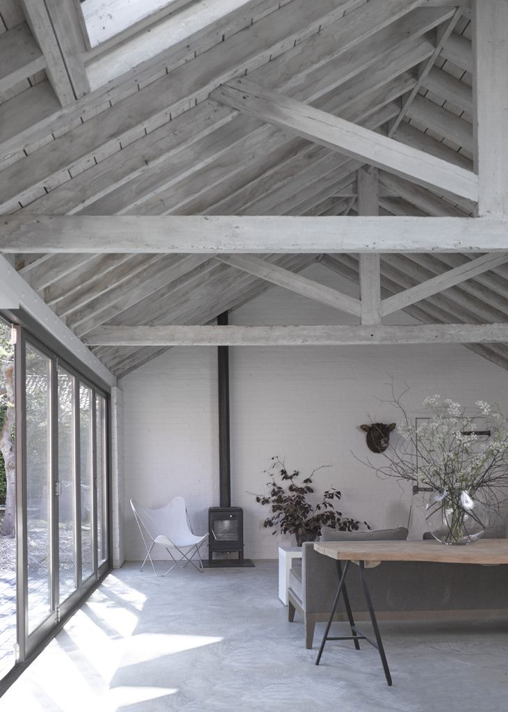 wood ceiling lighting. A Victorian Barn Conversion By Nash Baker Architects In Suffolk, Showing The Vaulted Ceiling With Exposed Lime Washed Timber Roof Trusses, And Wood Lighting